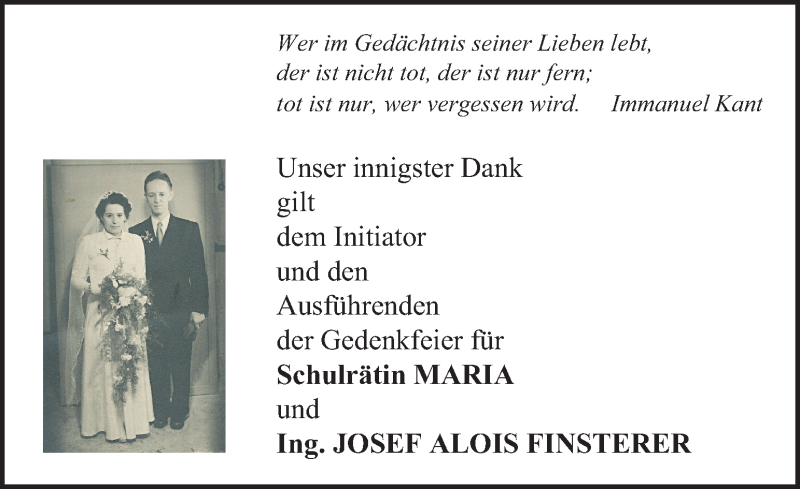 Traueranzeige für Maria Finsterer vom 30.12.2017 aus Kleine Zeitung