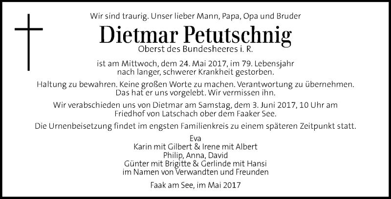 Traueranzeige für Dietmar Petutschnig vom 31.05.2017 aus Kleine Zeitung