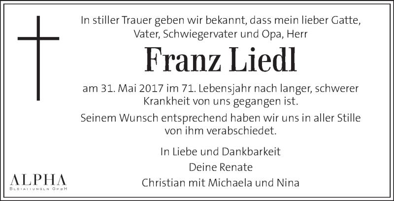 Traueranzeige für Franz Liedl vom 08.06.2017 aus Kleine Zeitung