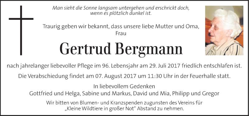 Traueranzeige für Gertrud Bergmann vom 04.08.2017 aus Kleine Zeitung