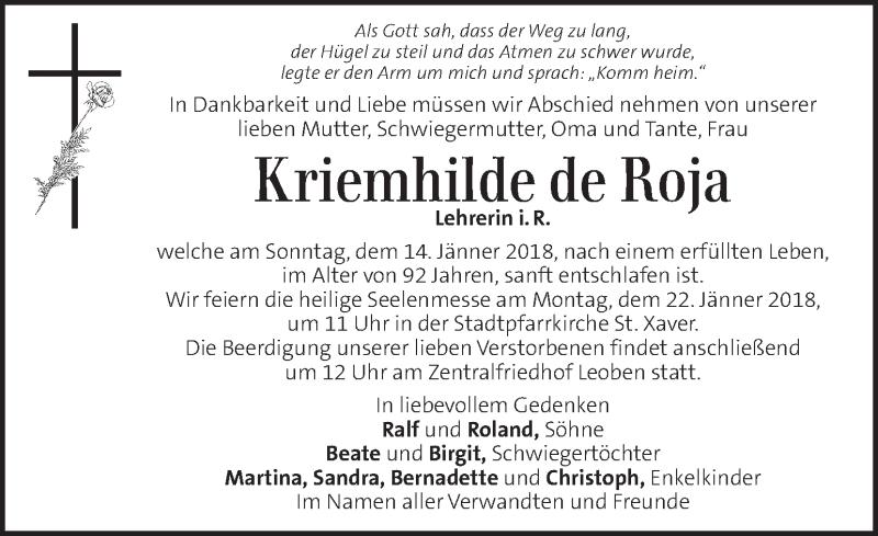 Traueranzeige für Kriemhilde de Roja vom 17.01.2018 aus Kleine Zeitung