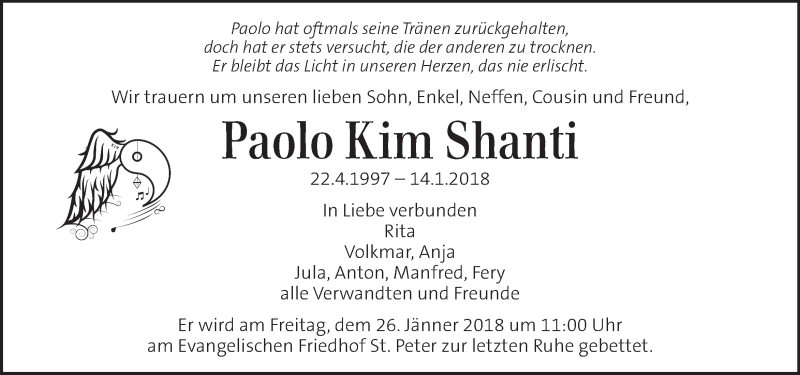 Traueranzeige für Paolo Kim Shanti vom 23.01.2018 aus Kleine Zeitung