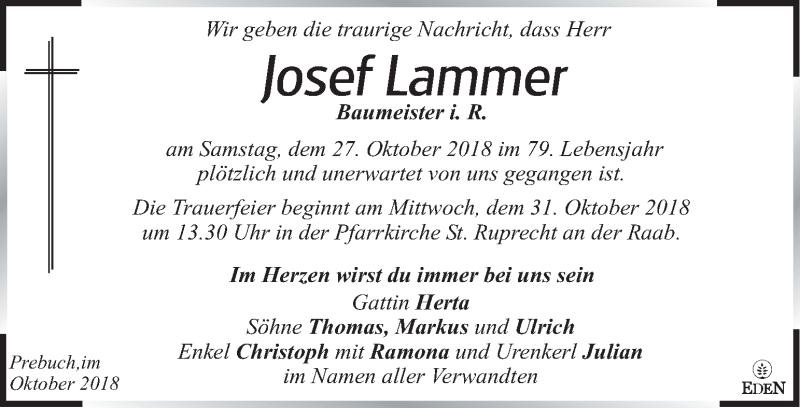Traueranzeige für Josef Lammer vom 30.10.2018 aus Kleine Zeitung