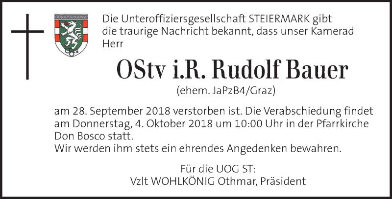 Traueranzeige für Rudolf Bauer vom 03.10.2018 aus Kleine Zeitung
