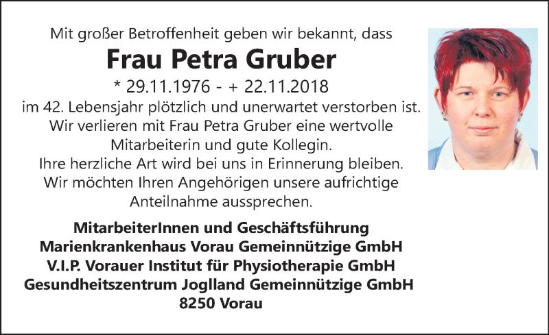 Traueranzeige für Petra Gruber vom 28.11.2018 aus Kleine Zeitung