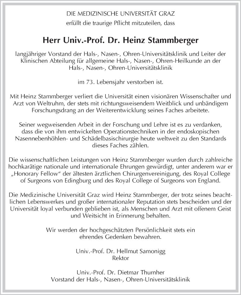 Traueranzeige für Heinz Stammberger vom 21.12.2018 aus Kleine Zeitung