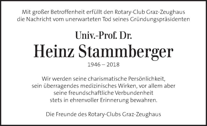 Traueranzeige für Heinz Stammberger vom 20.12.2018 aus Kleine Zeitung