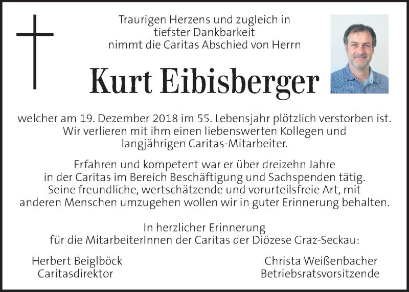 Anzeige von  Kurt Eibisberger