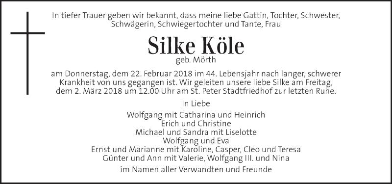 Traueranzeige für Silke Köle  vom 27.02.2018 aus Kleine Zeitung