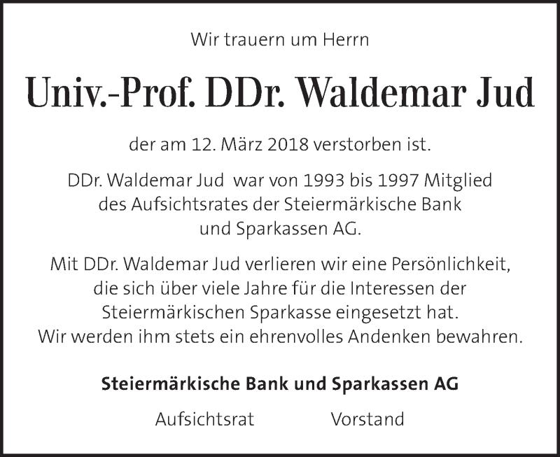 Traueranzeige für Waldemar Jud vom 20.03.2018 aus Kleine Zeitung