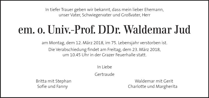 Traueranzeige für Waldemar Jud vom 17.03.2018 aus Kleine Zeitung