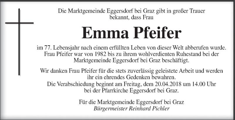 Traueranzeige für Emma Pfeifer vom 18.04.2018 aus Kleine Zeitung