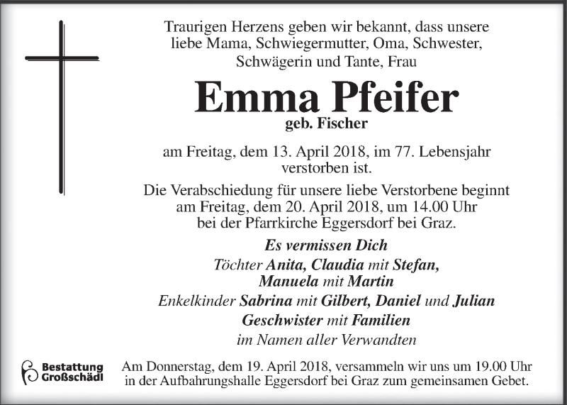 Traueranzeige für Emma Pfeifer vom 17.04.2018 aus Kleine Zeitung
