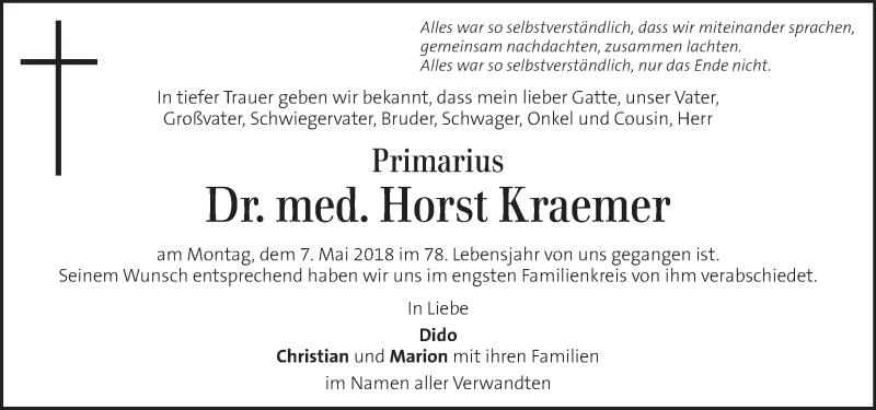 Traueranzeige für Horst Kraemer vom 26.05.2018 aus Kleine Zeitung