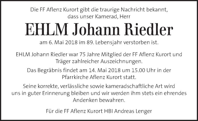 Traueranzeige für Johann Riedler vom 13.05.2018 aus Kleine Zeitung