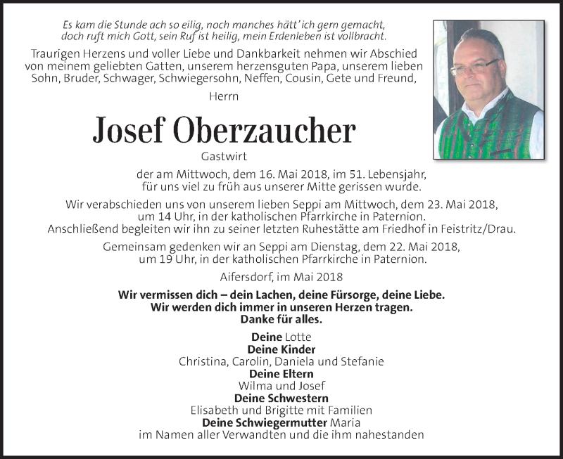 Traueranzeige für Josef Oberzaucher vom 20.05.2018 aus Kleine Zeitung