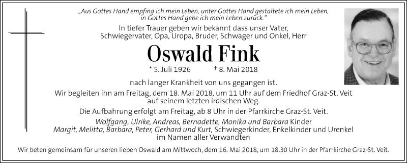 Traueranzeige für Oswald Fink vom 15.05.2018 aus Kleine Zeitung
