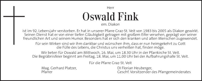 Traueranzeige für Oswald Fink vom 16.05.2018 aus Kleine Zeitung