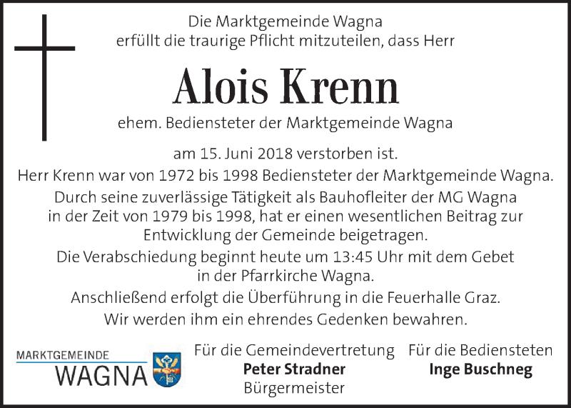 Traueranzeige für Alois Krenn vom 19.06.2018 aus Kleine Zeitung