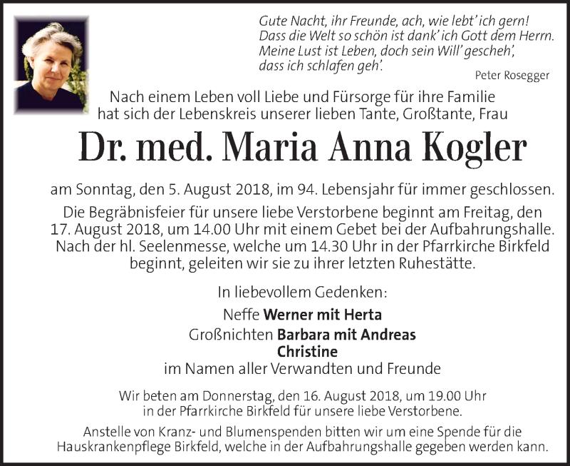 Traueranzeige für Maria Anna Kogler vom 15.08.2018 aus Kleine Zeitung