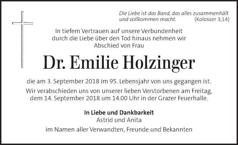Traueranzeige für Emilie Holzinger vom 11.09.2018 aus Kleine Zeitung