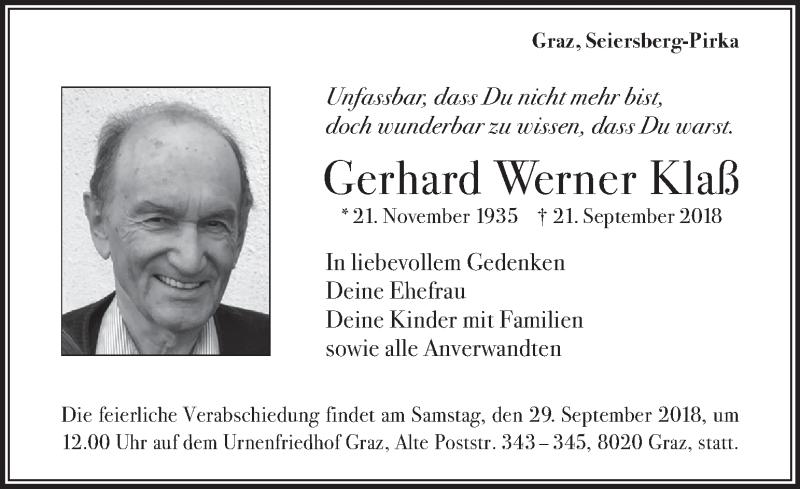 Traueranzeige für Gerhard Werner Klaß vom 26.09.2018 aus Kleine Zeitung