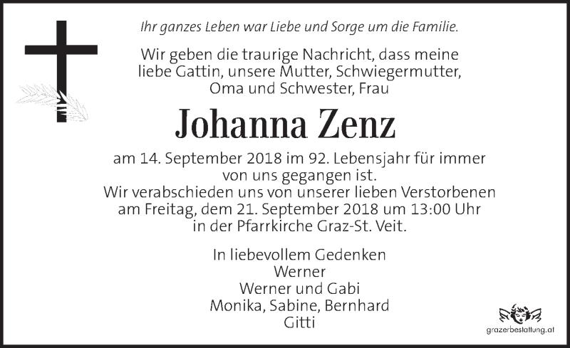 Traueranzeige für Johanna Zenz vom 18.09.2018 aus Kleine Zeitung
