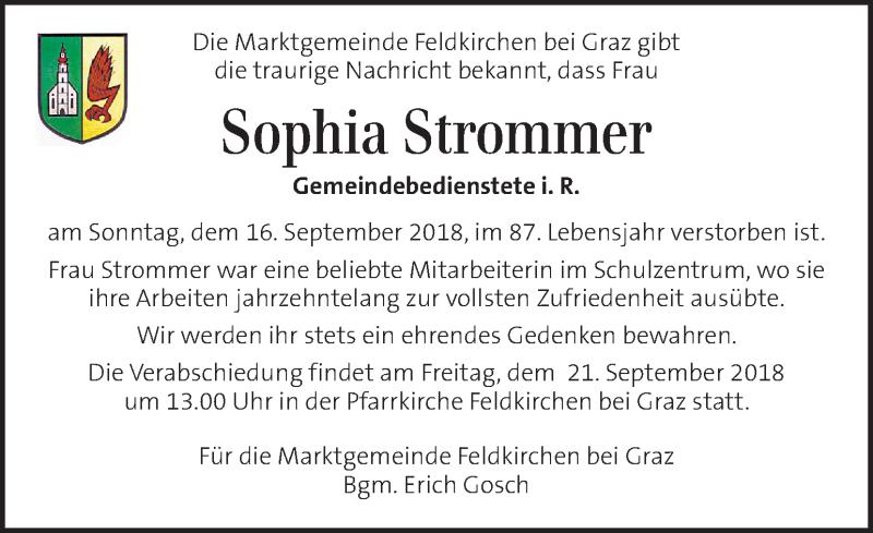 Traueranzeige für Sophia Strommer vom 20.09.2018 aus Kleine Zeitung