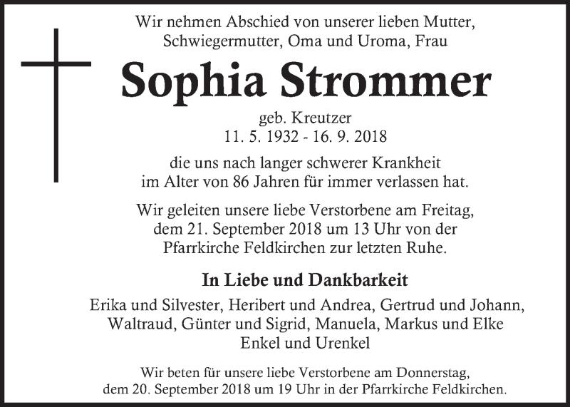 Traueranzeige für Sophia Strommer vom 19.09.2018 aus Kleine Zeitung
