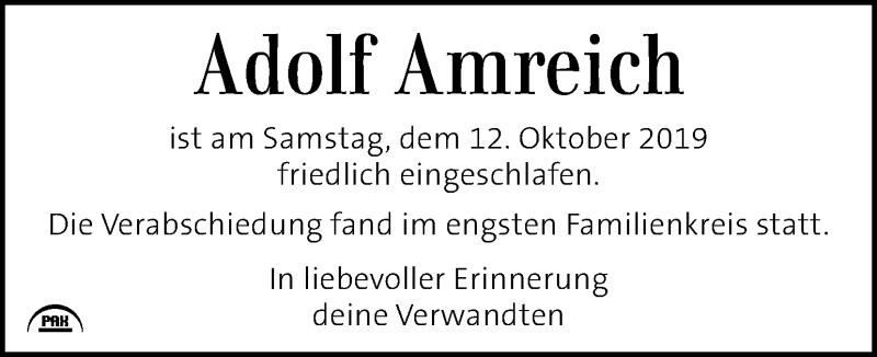 Traueranzeige für Adolf Amreich vom 22.10.2019 aus Kleine Zeitung
