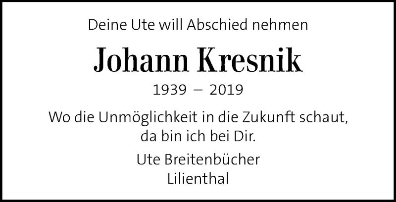 Traueranzeige für Johann Kresnik vom 05.10.2019 aus Kleine Zeitung