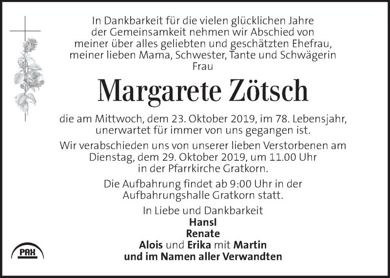 Traueranzeige für Margarete Zötsch vom 26.10.2019 aus Kleine Zeitung