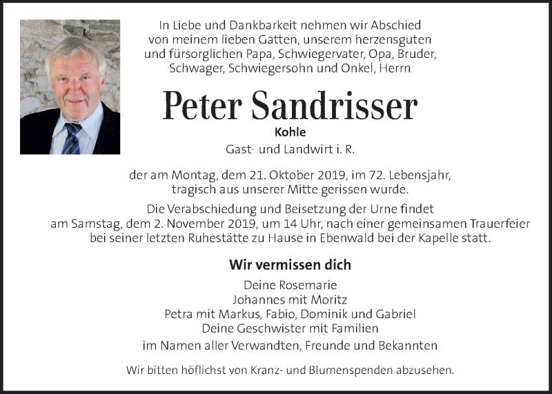Traueranzeige für Peter Sandrisser vom 31.10.2019 aus Kleine Zeitung