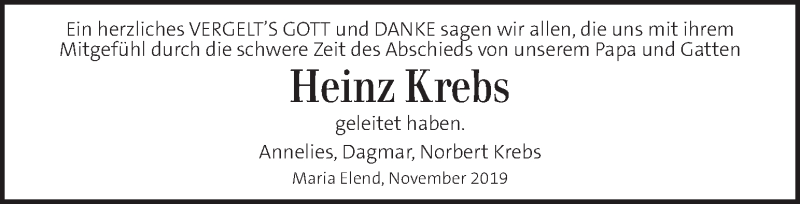 Traueranzeige für Heinz Krebs vom 13.11.2019 aus Kleine Zeitung