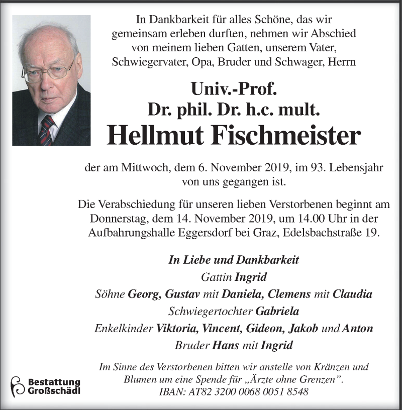 Traueranzeige für Hellmut Fischmeister vom 10.11.2019 aus Kleine Zeitung