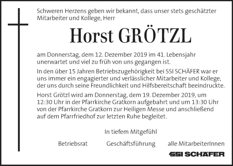 Traueranzeige für Horst Grötzl vom 19.12.2019 aus Kleine Zeitung