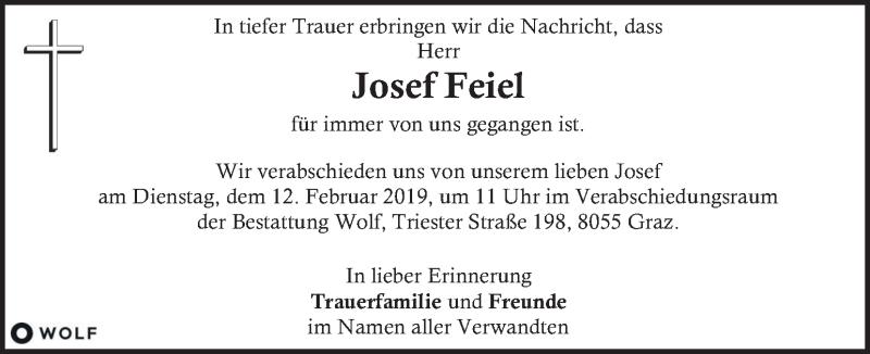 Anzeige von  Josef Feiel