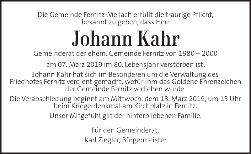 Traueranzeige für Johann Kahr vom 12.03.2019 aus Kleine Zeitung