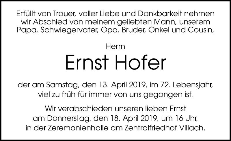 Traueranzeige für Ernst Hofer vom 17.04.2019 aus Kleine Zeitung