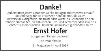 Traueranzeige für Ernst Hofer vom 24.04.2019 aus Kleine Zeitung
