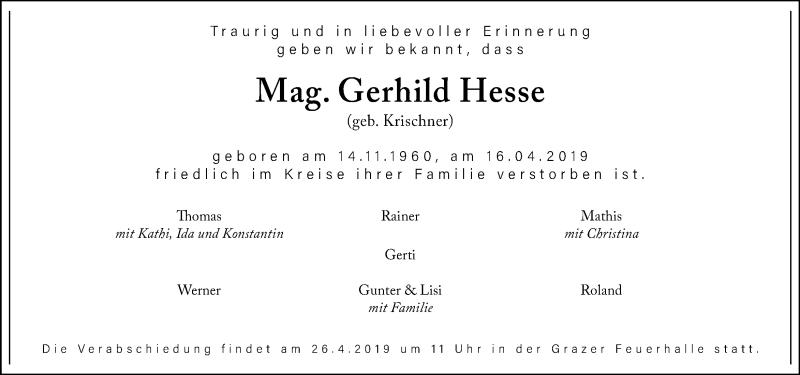 Traueranzeige für Gerhild Hesse vom 21.04.2019 aus Kleine Zeitung