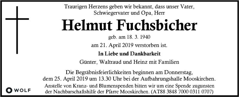 Traueranzeige für Helmut Fuchsbichler vom 24.04.2019 aus Kleine Zeitung
