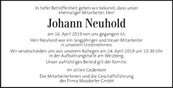 Traueranzeige für Johann Neuhold vom 24.04.2019 aus Kleine Zeitung
