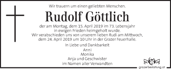 Traueranzeige für Rudolf Göttlich  vom 21.04.2019 aus Kleine Zeitung
