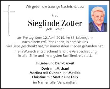 Traueranzeige für Sieglinde Zotter vom 21.04.2019 aus Kleine Zeitung