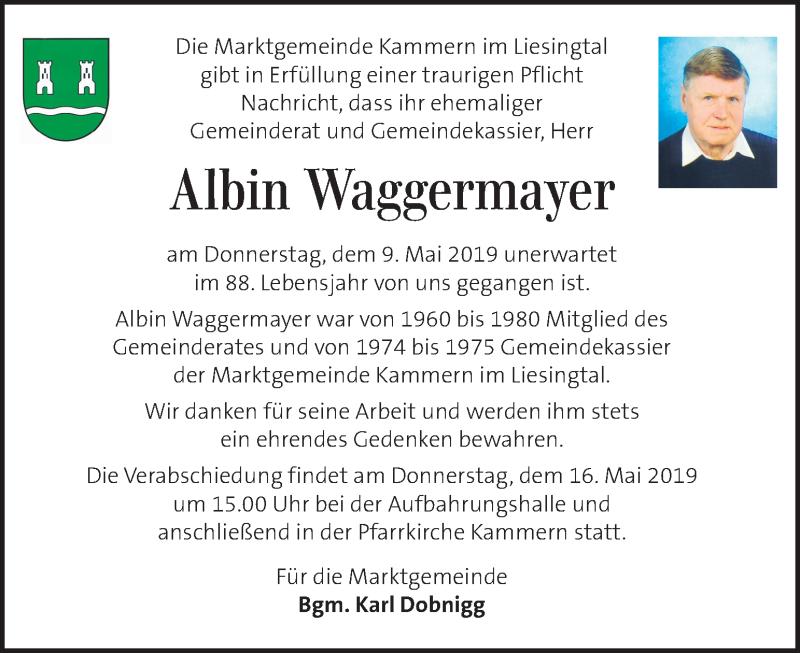 Traueranzeige für Albin Waggermayer vom 15.05.2019 aus Kleine Zeitung