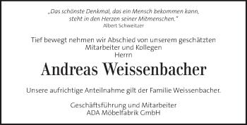Traueranzeige für Andreas Weissenbacher vom 15.05.2019 aus Kleine Zeitung