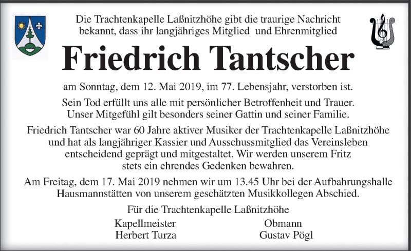Traueranzeige für Friedrich Tantscher vom 15.05.2019 aus Kleine Zeitung