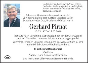 Traueranzeige für Gerhard Pirnat vom 29.05.2019 aus Kleine Zeitung