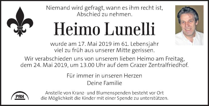 Traueranzeige für Heimo Lunelli vom 23.05.2019 aus Kleine Zeitung